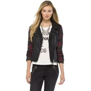 Plaid Sleeved Faux Leather Jacket